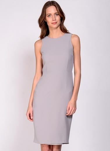 House Of Camellia Fermuarlı Kalem Elbise Gri